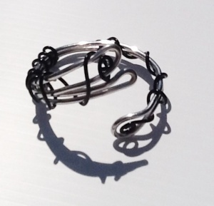 Aluminum, silver and black Noveau Cuff